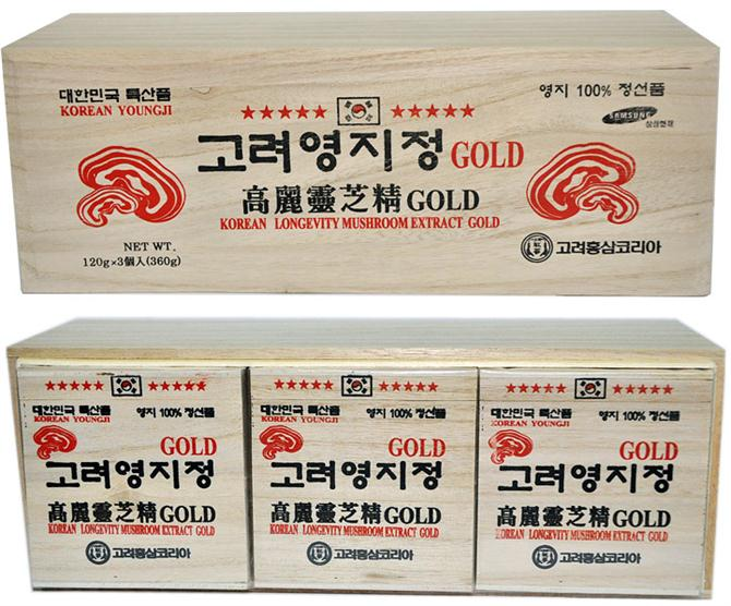 Korean longevity mushrooom extract gold in white wooden box